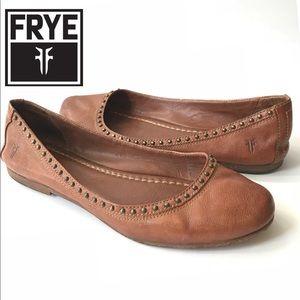 Frye Brown Cognac Carson Studded  Ballet Flat 9